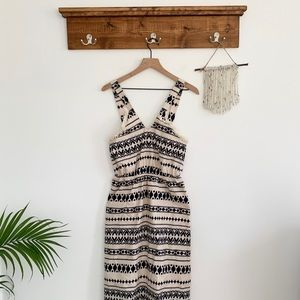 J.O.A. | Mididress with aztec print and fringe